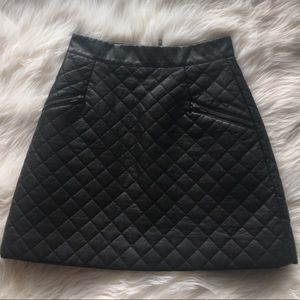 NWOT Quilted Faux Leather Skirt